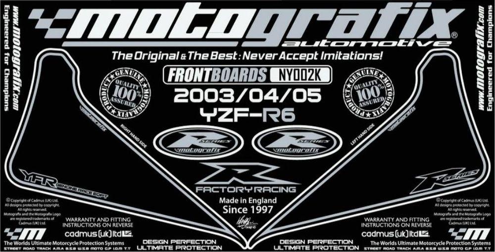 【ポイント5倍開催中!!】MOTOGRAFIX モトグラフィックス ステッカー・デカール ボディーパッド カラー:ブラック/シルバー YZF-R6