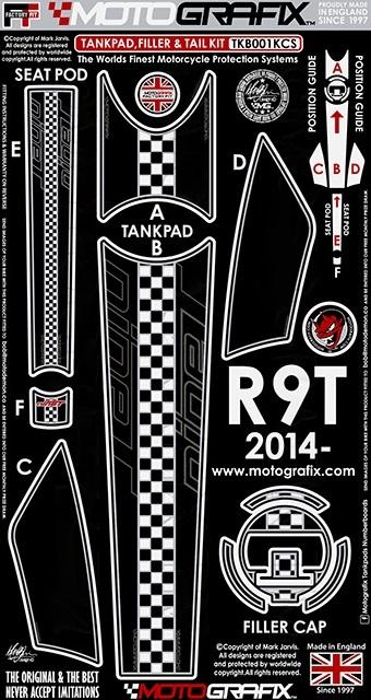 【ポイント5倍開催中!!】MOTOGRAFIX モトグラフィックス ステッカー・デカール ボディーパッド カラー:ブラックwithレッド、ホワイト&メタリックシルバー R nineT