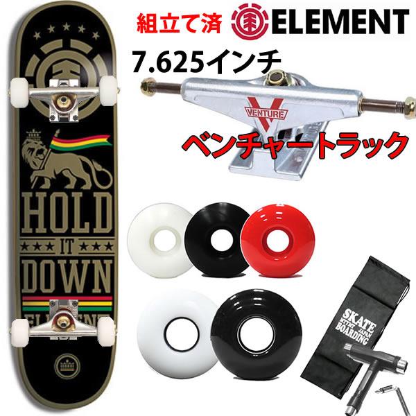 信頼のベンチャートラックセット スケートボード コンプリート ELEMENT エレメント  HOLD IT DOWN  7.625×31インチ 選べるウィール(レンチ+ケースサービス!【w63】