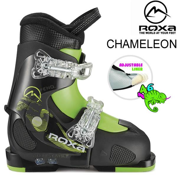 ROXA ロクサ ジュニア スキーブーツ 2019 CHAMELEON ブラック×ライム サイズアジャスト式 子供用 (18-19 2019) フリースタイルスキー ブーツ 【w95】