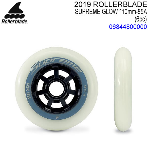 ROLLERBLADE インライン用 スペアウィール SUPREME GLOW 110mm 85A WHEELS 蓄光仕様 6輪入り 06844800000 3輪仕様インライン両足分 インラインスケート ローラーブレード 【C1】81】【w10】