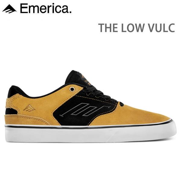 エメリカ スニーカー  THE LOW VULC /GOLD-BLACK   スケボーシューズ,スケートボード シューズ,emerica スニーカー【C1】【w18】