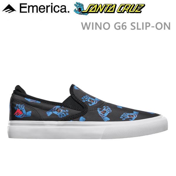 エメリカ サンタクルーズ コラボ スニーカー EMERICA WINO G6 スリッポン X SANTA CRUZ BLUE/BLACK/WHITE スケートボード シューズ【C1】
