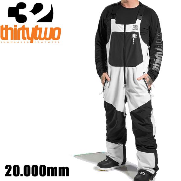 サーティーツー 20-21 スノーボードウェア ビブパンツ SPRINGBREAK -POWDER BIB Pants / WHITE  (2020-2021 20-21) 32 THIRTYTWO ウエア スノーボード ウェア メンズ【C1】