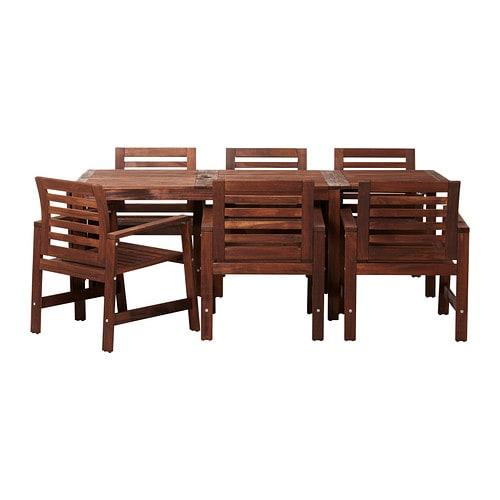 【IKEA/イケア/通販】 ÄPPLARÖ エップラロー テーブル+チェアアームレスト付き6 屋外用, ブラウン ブラウンステイン(S09898475)
