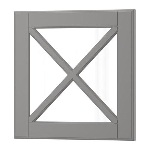 【IKEA/イケア/通販】 BODBYN ボードビーン ガラス扉 クロスバー付き, グレー(a)(20400163)