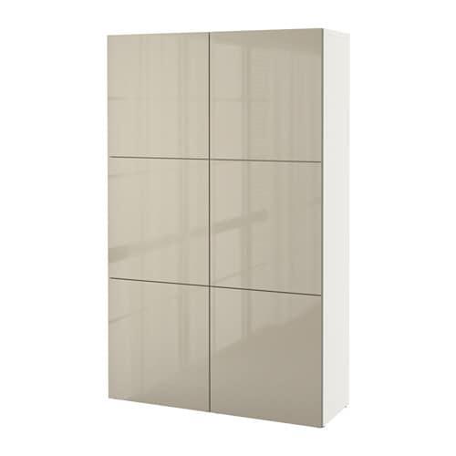 【IKEA/イケア/通販】 BESTÅ ベストー 収納コンビネーション 扉付, ホワイト, セルスヴィーケン ハイグロス/ベージュ(S99187447)【代引不可商品】