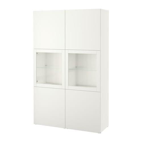 【IKEA/イケア/通販】 BESTÅ ベストー 収納コンビネーション ガラス扉付き, ラップヴィーケン, シンドヴィーク ホワイトクリアガラス(a)(S19187413)