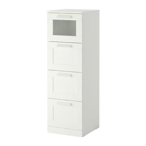 【IKEA/イケア/通販】 BRIMNES ブリムネス チェスト(引き出し×4), ホワイト, フロストガラス(c)(70355417)