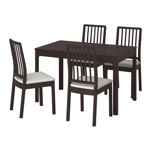 【IKEA/イケア/通販】 EKEDALEN エーケダーレン / EKEDALEN エーケダーレン テーブル&チェア4脚, ダークブラウン, オッルスタ ライトグレー(a)(S49221279)【代引不可商品】