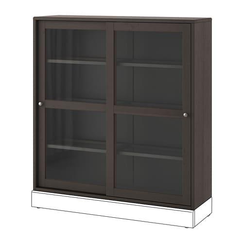 【IKEA/イケア/通販】 HAVSTA ハーヴスタ ガラス扉キャビネット, ダークブラウン(a)(20391045)【代引不可商品】