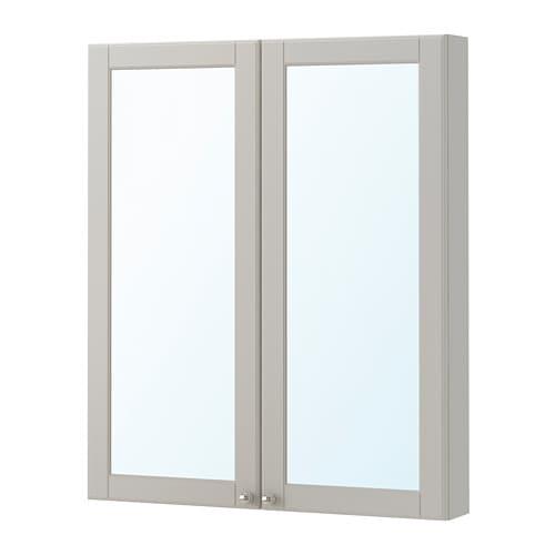 【IKEA/イケア/通販】 GODMORGON グモロン ミラーキャビネット 扉2枚付き, カショーン ライトグレー(a)(50392246)