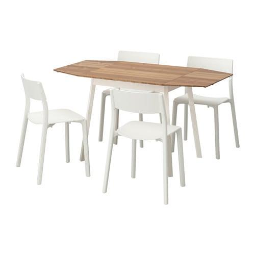 【IKEA/イケア/通販】 IKEA PS 2012 / JANINGE ヤニンゲ テーブル&チェア4脚, 竹, ホワイト(d)(S19183943)【代引不可商品】
