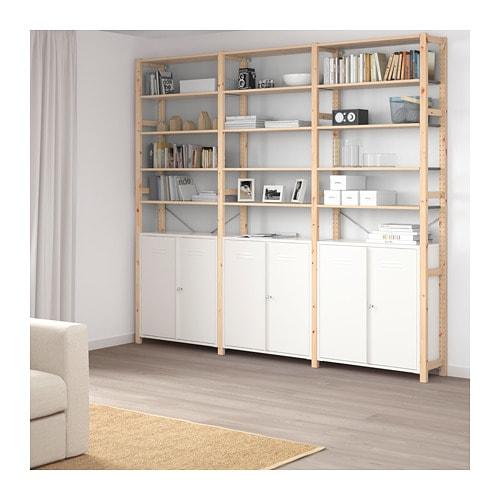 【IKEA/イケア/通販】 IVAR イーヴァル 3セクション/キャビネット/シェルフ, パイン材, ホワイト(a)(S19249982)