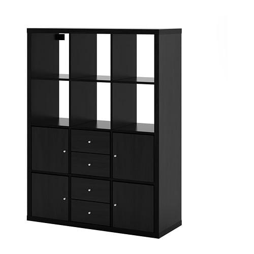 【IKEA/イケア/通販】 KALLAX カラックス シェルフユニット インサート6個付き, ブラックブラウン●(a)(S69278260)【代引不可商品】