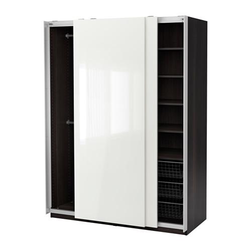 【IKEA/イケア/通販】 PAX ワードローブ, ブラックブラウン, ハスヴィーク ハイグロス/ホワイト(a)(69128204)
