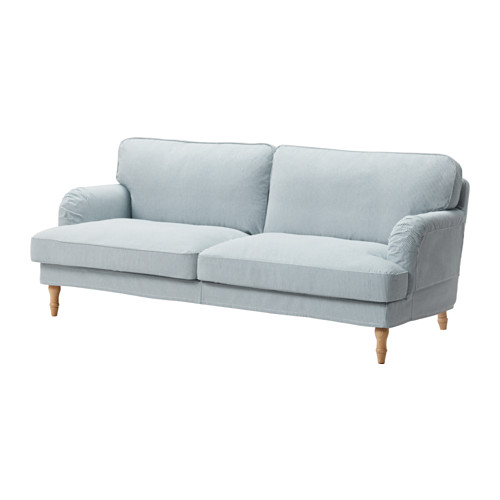 【IKEA/イケア/通販】 STOCKSUND 3人掛けソファ, レムヴァレン ブルー/ホワイト, ライトブラウン/ウッド(b)(09129824)