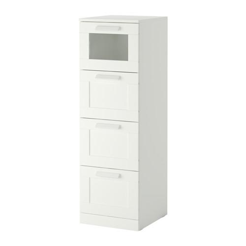 【IKEA/イケア/通販】 BRIMNES チェスト(引き出し×4), ホワイト, フロストガラス(d)(70355417)