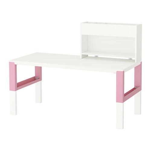 【IKEA/イケア/通販】 PÅHL デスク 追加ユニット付き, ホワイト, ピンク(d)(S09245140)