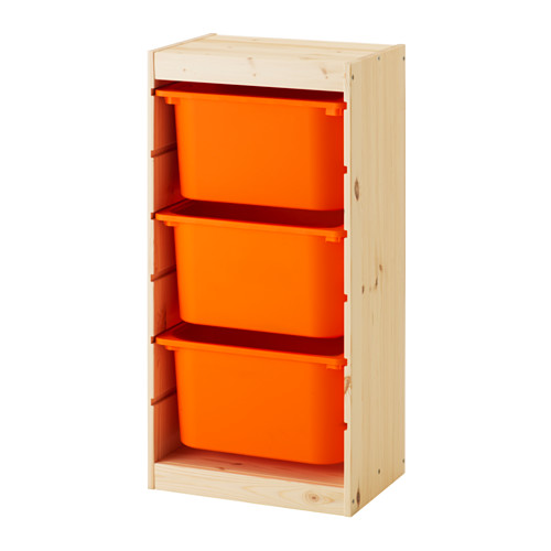 【IKEA/イケア/通販】 TROFAST 収納コンビネーション, ライトホワイトステインパイン, オレンジ(b)(S09240883)
