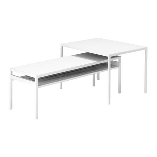 【IKEA/イケア/通販】 NYBODA ネストテーブル リバーシブルトップ, 2点セット, ホワイト/グレー(d)(S09208326)