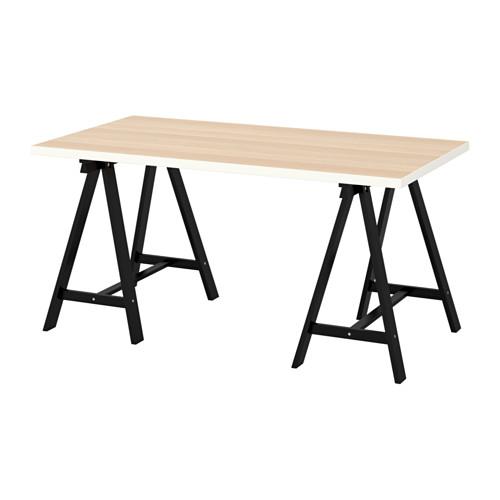 【特選商品】【IKEA/イケア/通販】 LINNMON / ODDVALD テーブル, ホワイト ホワイトステインオーク調, ブラック(c)(S09216675)