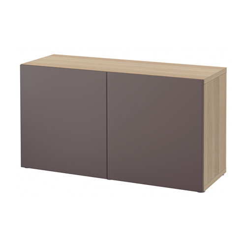 【IKEA/イケア/通販】 BESTÅ シェルフユニット 扉付, ホワイトステインオーク調, ヴァルヴィーケン ダークブラウン(a)(S19221412)