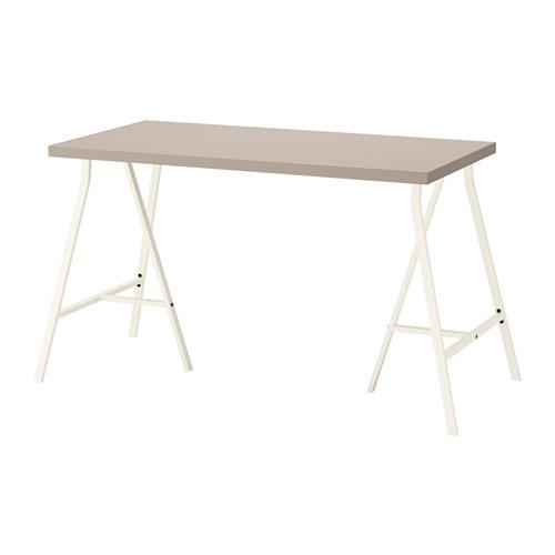 【特選商品】【IKEA/イケア/通販】 LINNMON テーブル, 幾何学模様 ベージュ, ホワイト(a)(S19214280)