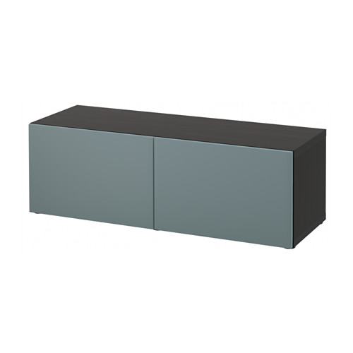 【IKEA/イケア/通販】 BESTÅ シェルフユニット 扉付, ブラックブラウン, ヴァルヴィーケン グレーターコイズ(a)(S19150706)