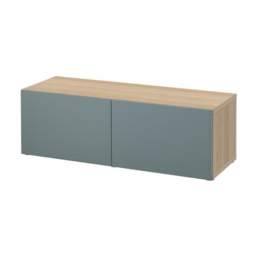 【IKEA/イケア/通販】 BESTÅ シェルフユニット 扉付, ホワイトステインオーク調, ヴァルヴィーケン グレーターコイズ(a)(S19132944)