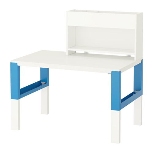 【IKEA/イケア/通販】 PÅHL デスク 追加ユニット付き, ホワイト, ブルー(d)(S19245149)