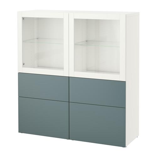 【IKEA/イケア/通販】 BESTÅ 収納コンビネーション ガラス扉付き, ホワイト, ヴァルヴィーケン グレーターコイズクリアガラス(a)(S19187540)