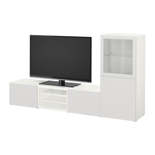 【IKEA/イケア/通販】 BESTÅ テレビ収納コンビネーション/ガラス扉, ホワイト, ラップヴィーケン ライトグレークリアガラス(a)(S19208463)
