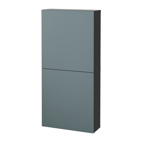 【IKEA/イケア/通販】 BESTÅ ウォールキャビネット 扉2枚付き, ブラックブラウン, ヴァルヴィーケン グレーターコイズ(a)(S19187187)