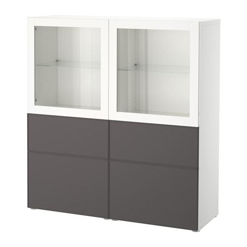 【IKEA/イケア/通販】 BESTÅ 収納コンビネーション ガラス扉付き, ホワイト グルンドスヴィーケン, ダークグレー クリアガラス(a)(S19205365)