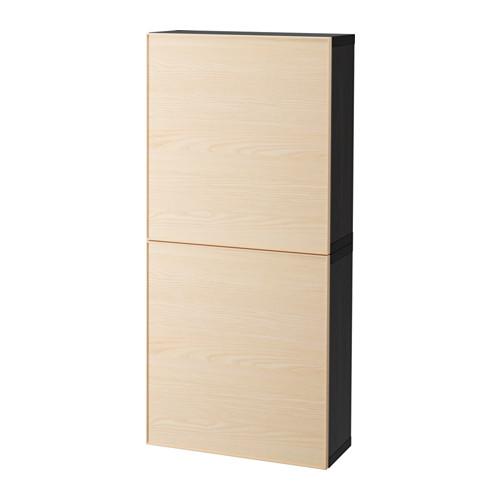 【IKEA/イケア/通販】 BESTÅ ウォールキャビネット 扉2枚付き, ブラックブラウン, イーンヴィーケン アッシュ材突き板(a)(S29203422)