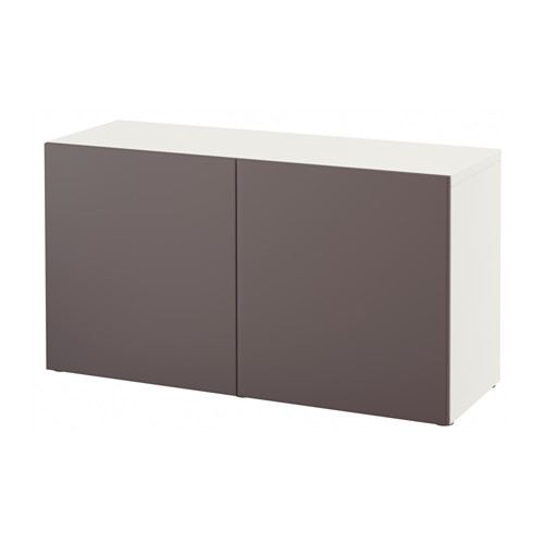 【IKEA/イケア/通販】 BESTÅ シェルフユニット 扉付, ホワイト, ヴァルヴィーケン ダークブラウン(a)(S39221411)