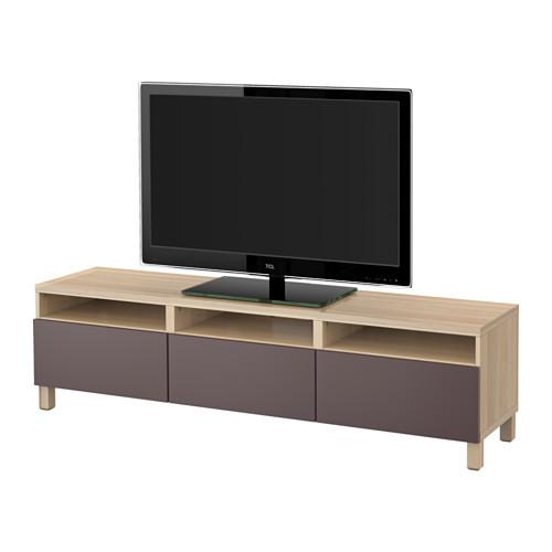【IKEA/イケア/通販】 BESTÅ テレビ台 引き出し付き, ホワイトステインオーク調, ヴァルヴィーケン ダークブラウン(a)(S39186295)