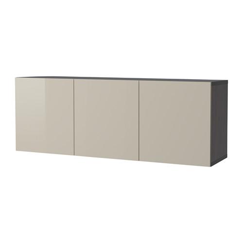 【IKEA/イケア/通販】 BESTÅ 壁取り付け式キャビネットコンビネーション, ブラックブラウン, セルスヴィーケン ハイグロス/ベージュ(a)(S39231293)