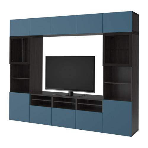 【IKEA/イケア/通販】 BESTÅ テレビ収納コンビネーション/ガラス扉, ブラックブラウン ヴァルヴィーケン, ダークブルー クリアガラス(a)(S39203332)