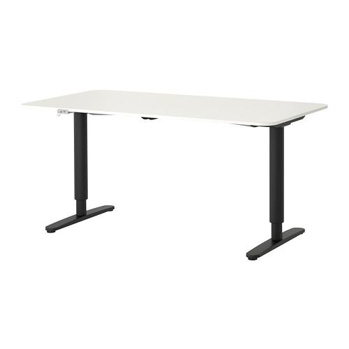 【IKEA/イケア/通販】 BEKANT デスク 昇降式, ホワイト, ブラック(a)(S39222585)