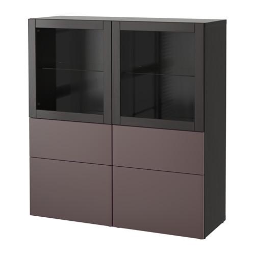 【IKEA/イケア/通販】 BESTÅ 収納コンビネーション ガラス扉付き, ブラックブラウン, ヴァルヴィーケン ダークブラウンクリアガラス(a)(S39187539)