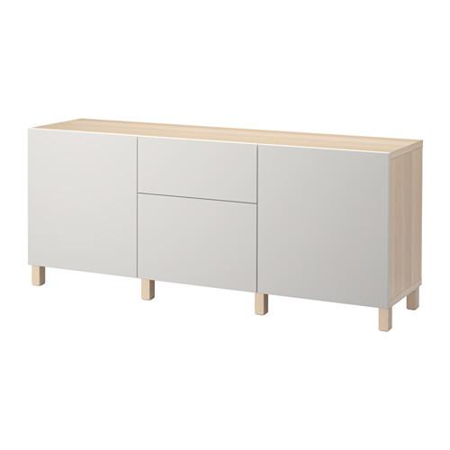 【IKEA/イケア/通販】 BESTÅ 収納コンビネーション 引き出し付, ホワイトステインオーク調, ラップヴィーケン ライトグレー(a)(S39204954)