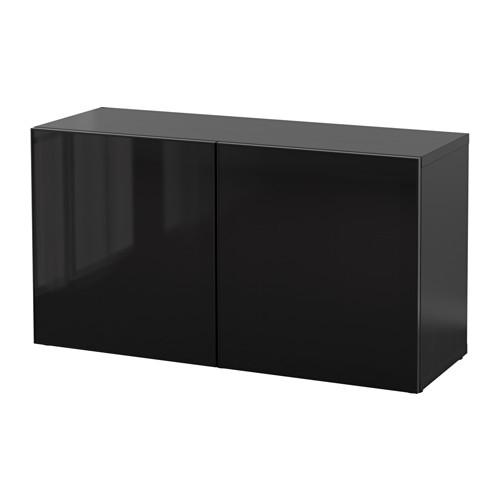 【IKEA/イケア/通販】 BESTÅ シェルフユニット ガラス扉付, ブラックブラウン, グラスヴィーク ブラック/スモークガラス(b)(S49047770)