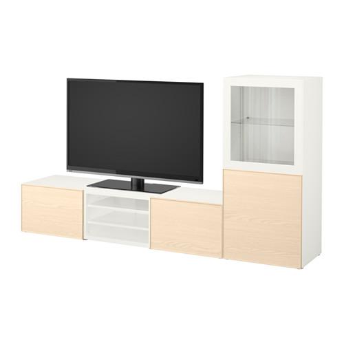 【IKEA/イケア/通販】 BESTÅ テレビ収納コンビネーション/ガラス扉, ホワイト, イーンヴィーケン アッシュ材突き板(a)(S49207184)