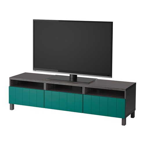 【IKEA/イケア/通販】 BESTÅ テレビ台 引き出し付き, ブラックブラウン, ハルスタヴィーク ブルーグリーン(a)(S49205774)