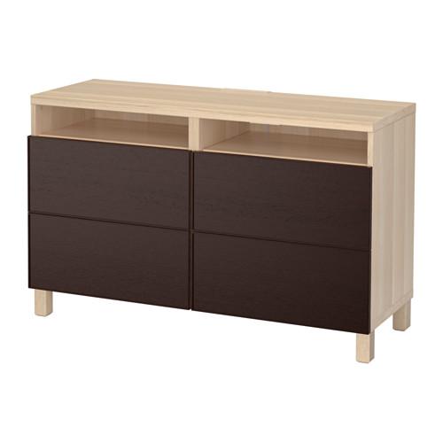 【IKEA/イケア/通販】 BESTÅ テレビ台 引き出し付き, ホワイトステインオーク調, イーンヴィーケン ブラックブラウン(a)(S59202713)