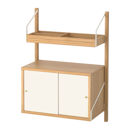 【IKEA/イケア/通販】 SVALNÄS 壁取り付け式収納コンビネーション, 竹, ホワイト(a)(S59184455)