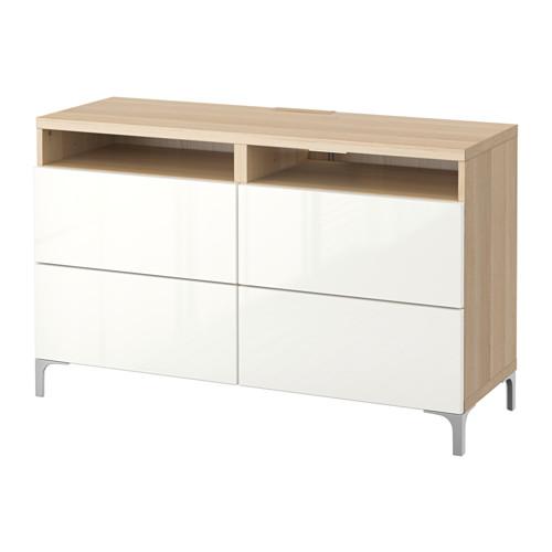 【IKEA/イケア/通販】 BESTÅ テレビ台 引き出し付き, ホワイトステインオーク調, セルスヴィーケン ハイグロス/ホワイト(a)(S59186355)