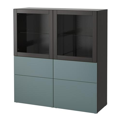 【IKEA/イケア/通販】 BESTÅ 収納コンビネーション ガラス扉付き, ブラックブラウン, ヴァルヴィーケン グレーターコイズクリアガラス(a)(S59187538)